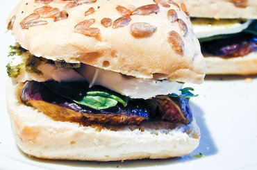 Fig and Mozzarella Warm Sandwich on Chocolate & Zucchini