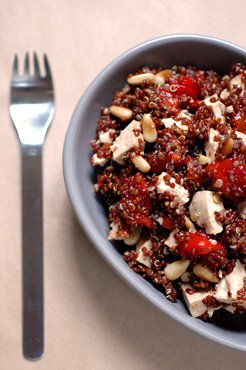 Red Quinoa Salad with Bell Peppers and Pine Nuts: (V)