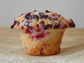 Raspberry Muffins with Cacao Nibs