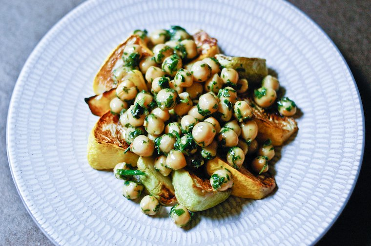 Roasted Patty Pan Squash And Herbed Chickpeas Recipe
