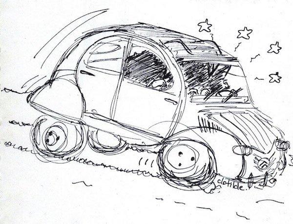A sketch of Hergé's 2CV