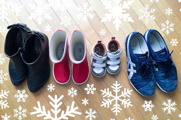 A family in shoes