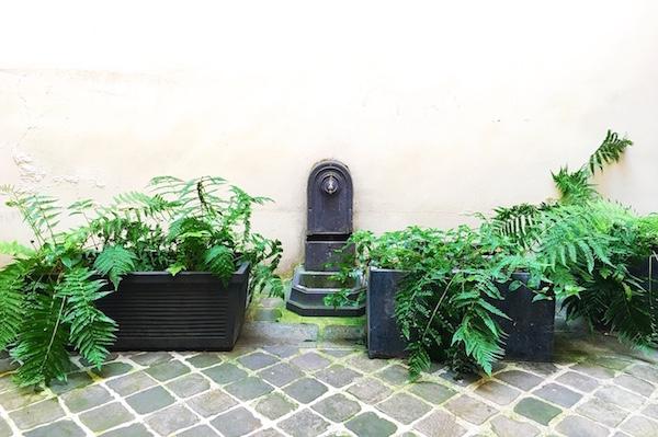 Une fontaine dans une courette parisienne