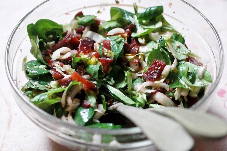 Salade de mâche, endives et betteraves