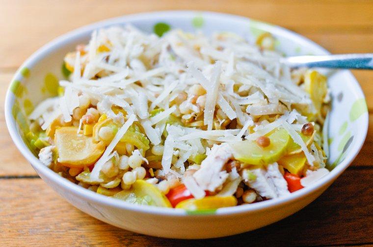 Fregola sarda aux courgettes et parmesan