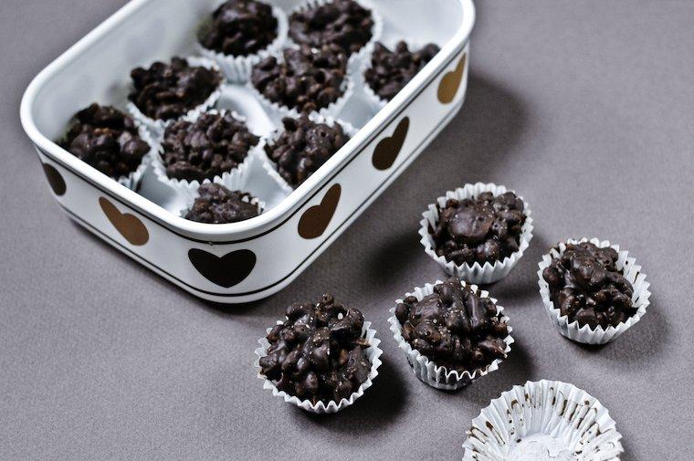 Bouchées croustillantes au chocolat, amandes et gingembre