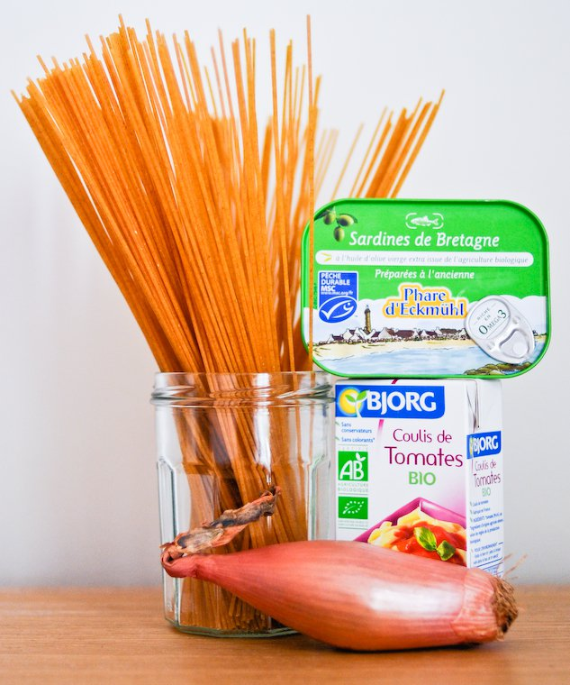 Spaghetti à la sauce tomate et sardine écrasée Recette