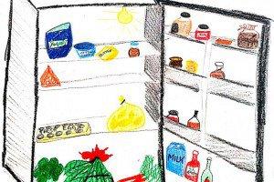 Le frigo de Luisa, dessiné par elle-même.