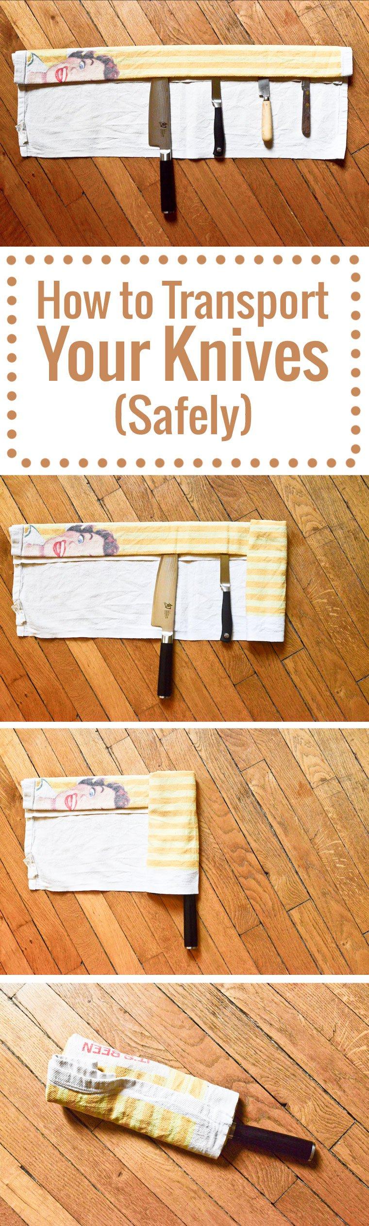 Une façon astucieuse de rouler ses couteaux dans un simple torchon pour les transporter sans risque.