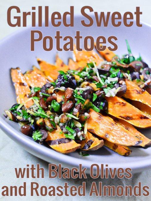 Patates douces grillées, olives noires et amandes