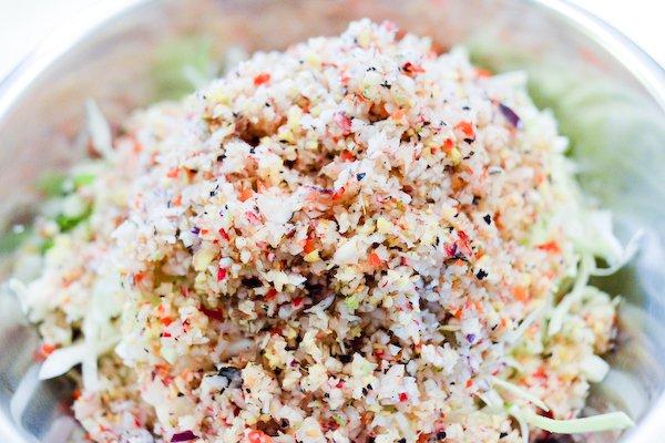 Kimchi facile: légumes hachés