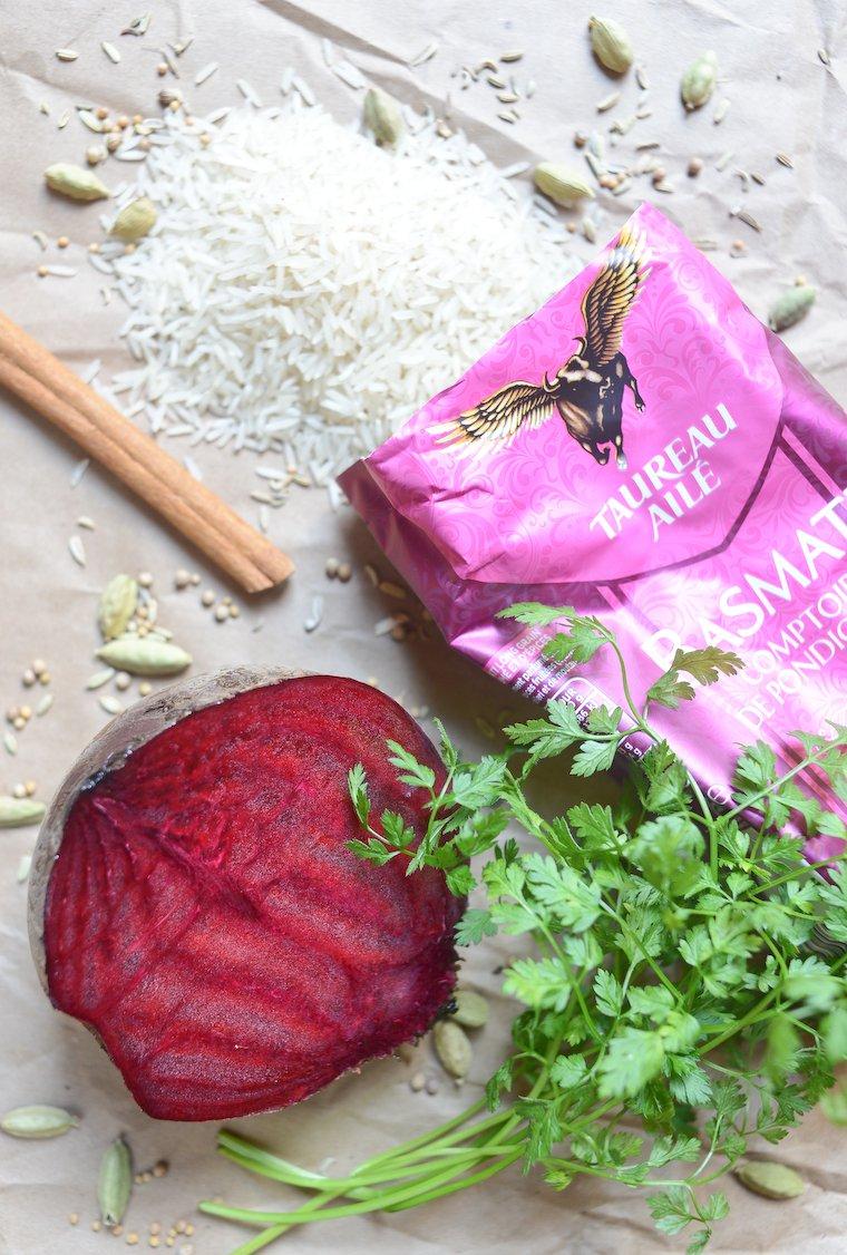 Riz pilaf aux épices et à la betterave : Les ingrédients