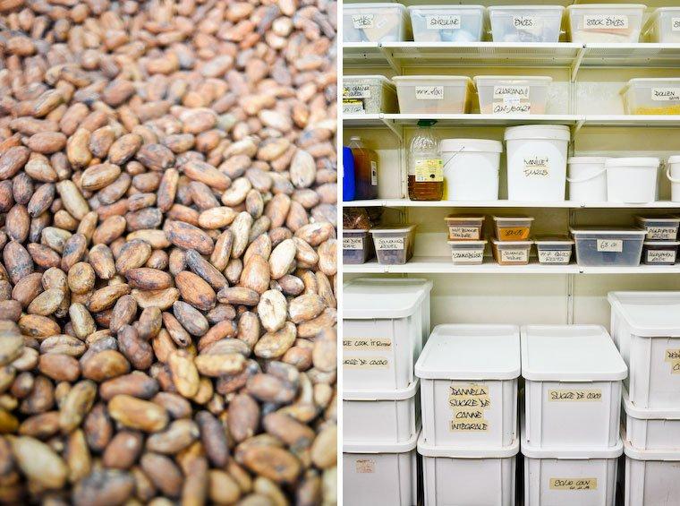 Fèves de cacao (à gauche) ; divers ingrédients (à droite).