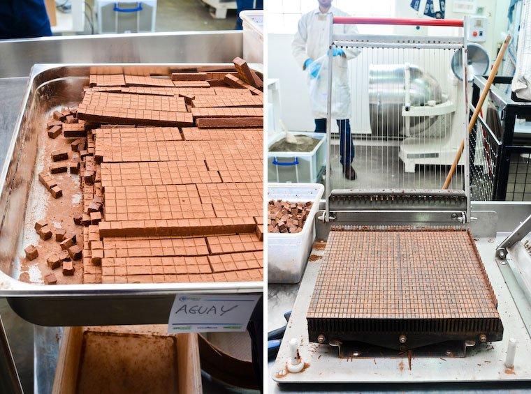 Truffes de chocolat à la physalis (à gauche) ; trancheuse (à droite).