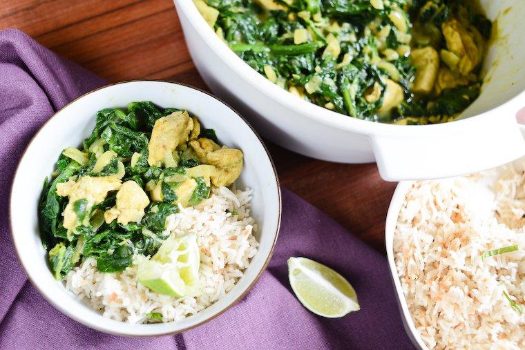 Curry de poulet aux épinards en 30 minutes