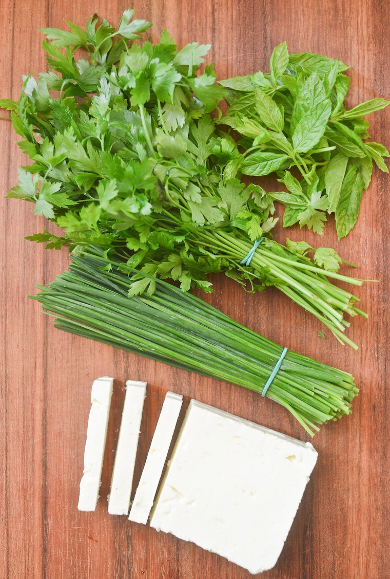 Feta et herbes fraîches