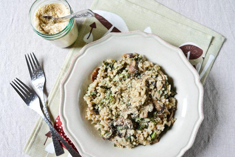 Risotto au kale et aux champignons