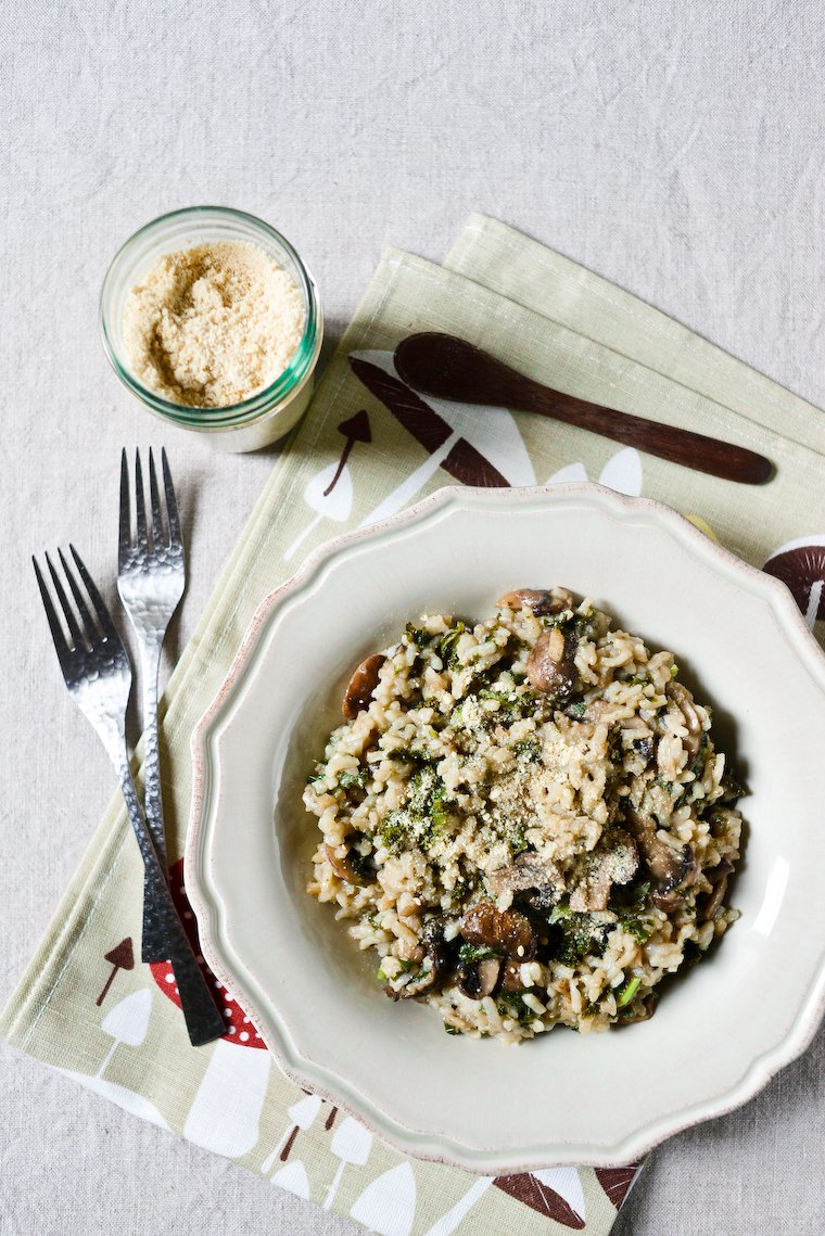 Risotto vegan express, kale et champignons Recette