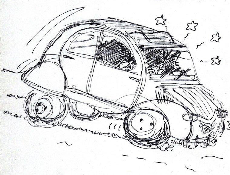 Mon croquis de la 2CV d'Hergé