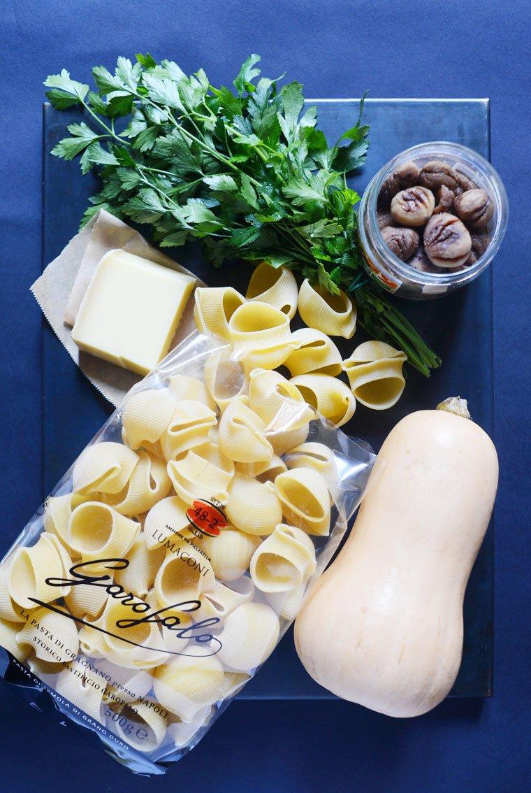 Lumaconi farcis, courge butternut et châtaigne: Ingrédients