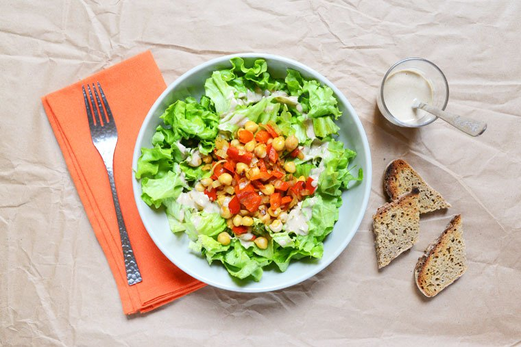 Salade aux poivrons et pois chiches