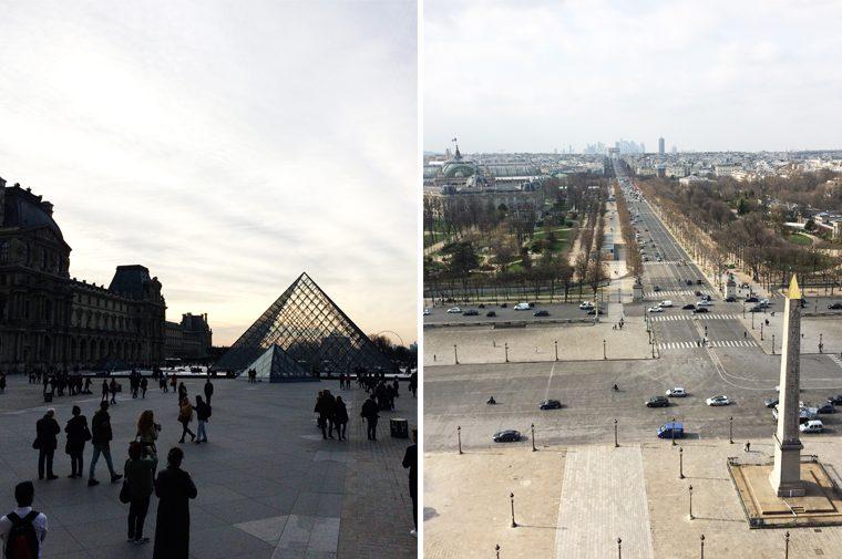 La Pyramide du Louvre et la vue des Champs-Élysées de la Grande Roue