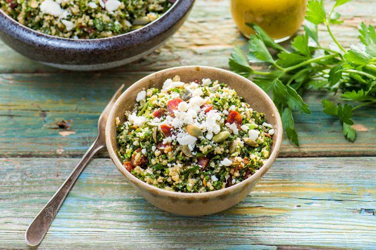 Taboulé au kale, coriandre et chorizo
