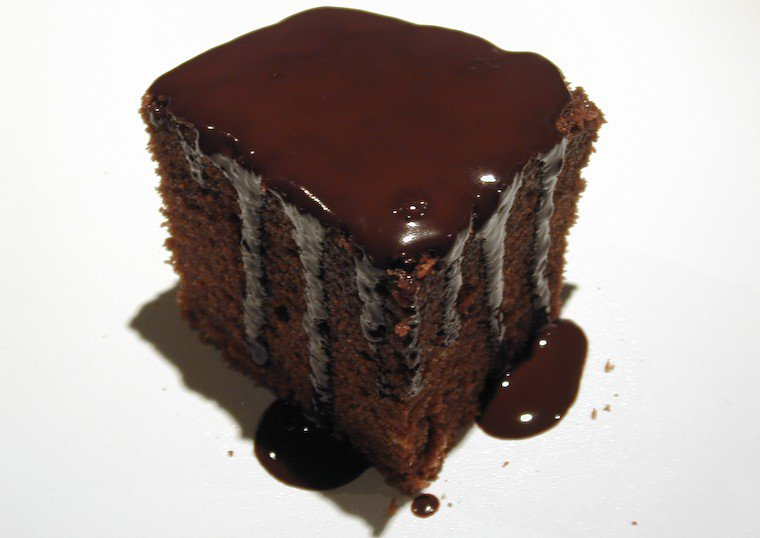 Light Chocolate Cake with a Ganache Glaze