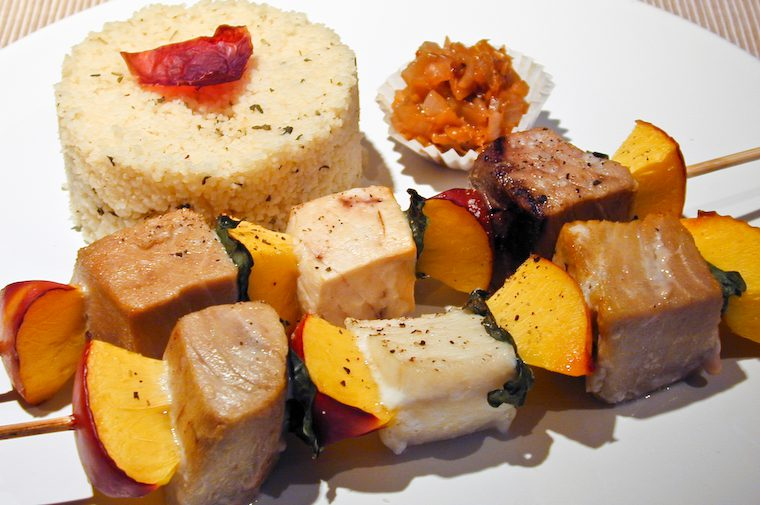 Tropical Fish and Nectarine Skewers, Matching Chutney Recipe