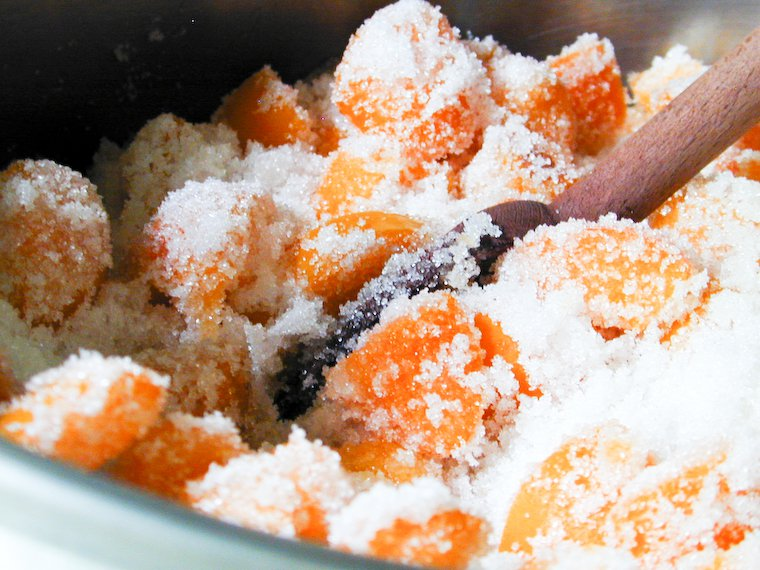 Apricots and sugar