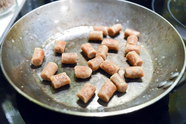 Searing the gnocchi