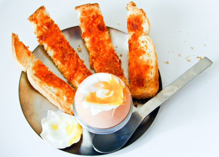 Soft-Boiled Egg, Red Pesto Bread Fingers Recipe