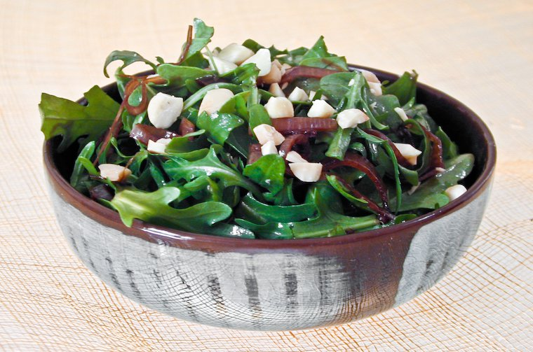 Arugula with Shallot Confit Vinaigrette and Toasted Almonds Recipe