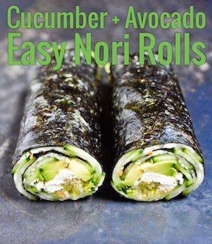 Maki-style nori rolls, super easy to assemble, and a great home for all kinds of ingredients. The perfect quick grain-free lunch!