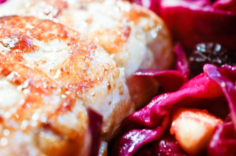Pork Roast with Spiced Red Cabbage, Apples, and Prunes Recipe