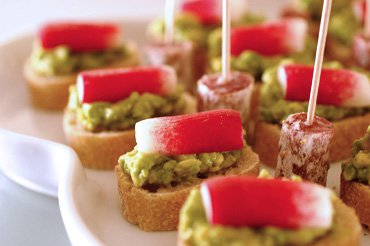 Avocado and radish canap s with smoked salt recipe for Canape dictionary
