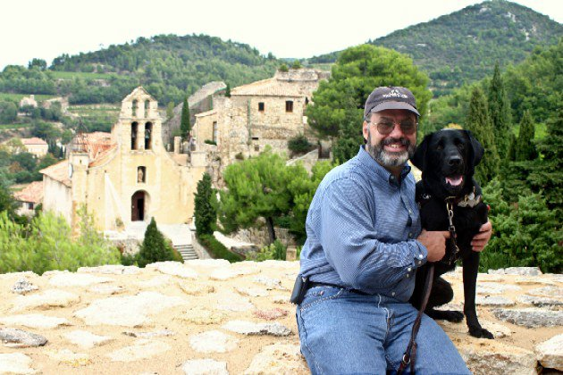 David E. Price and guide dog Plymouth in Gigondas