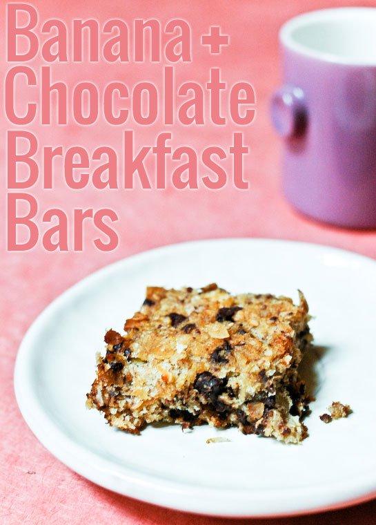 Healthy Banana Chocolate Breakfast Bars