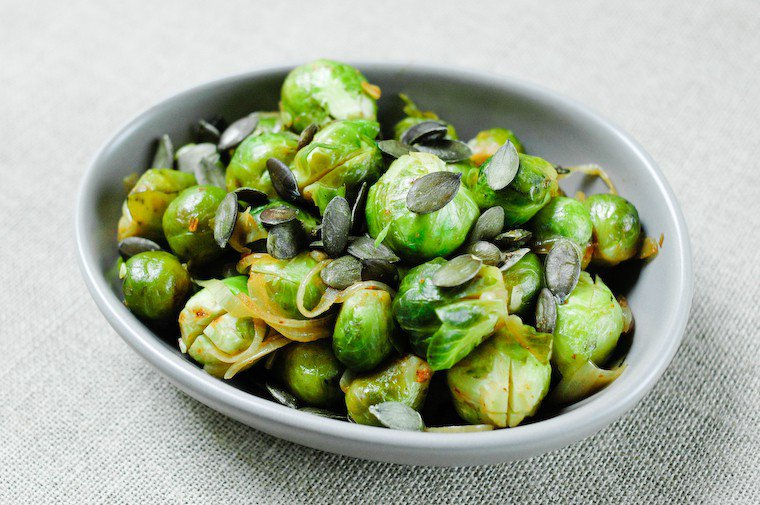 Brussels Sprouts with Onions and Squash Seeds Recipe