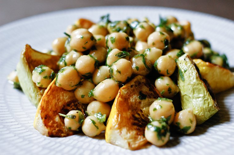 Roasted Patty Pan Squash with Chickpeas