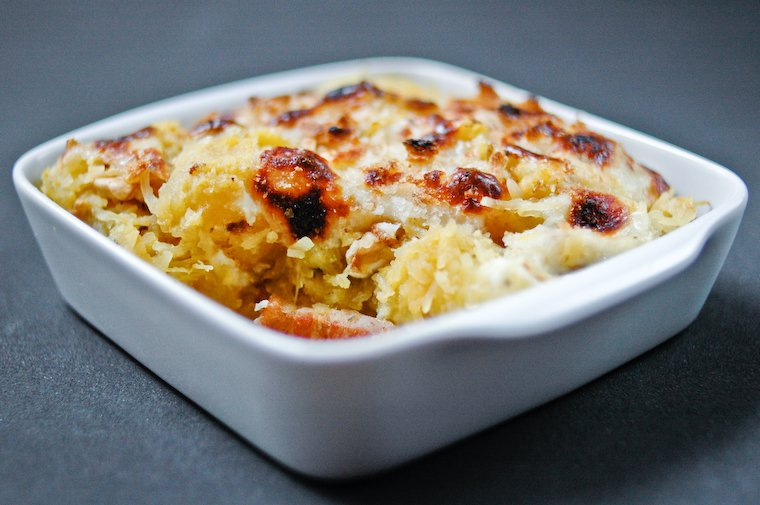 Spaghetti Squash Gratin with Bacon and Walnuts