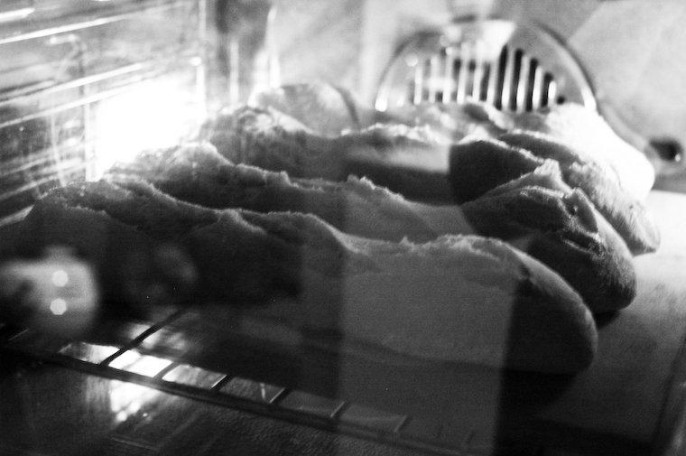 Baguettes baking