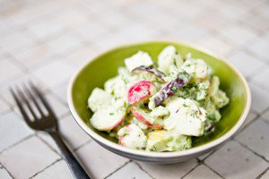 Chicken and Radish Salad with Avocado Green Goddess Dressing