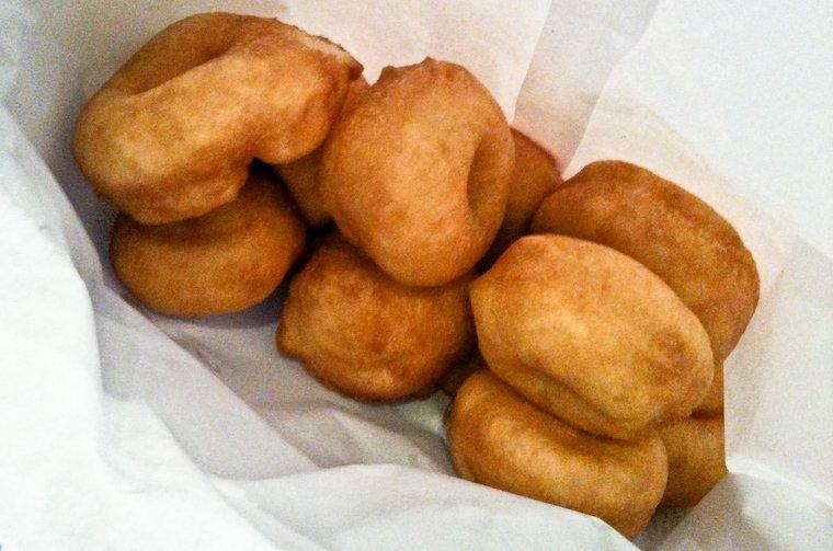 Tonyu (soy milk) donuts from the Nishiki-dori market