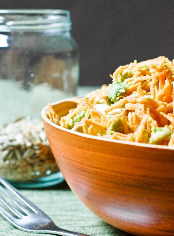 Grated Carrot Salad with Avocado Recipe
