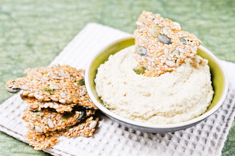 Flax Seed Crackers and Hummus
