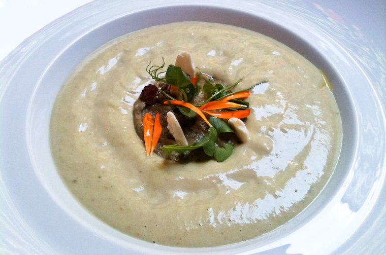 Cold eggplant and almond soup, as served at the Plaza Athénée.