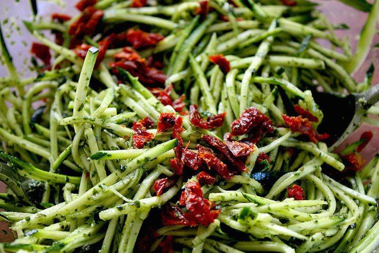 Julienned zucchini.