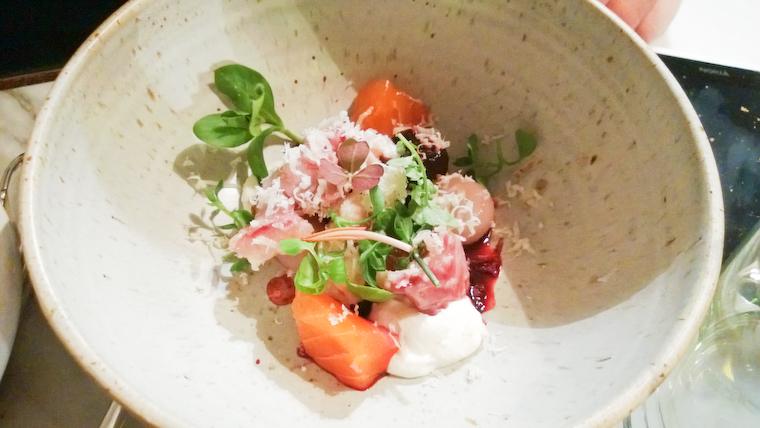 Eel / Trout / Beet / Horseradish @ Bones