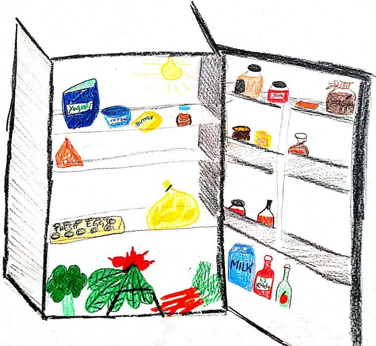 Luisa Weiss's sketch of her fridge.
